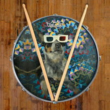 Dog wearing 3D glasses graphic Remo drum head on snare drum