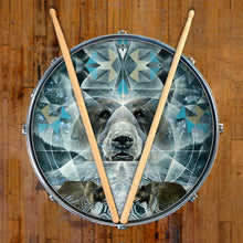 Bear design graphic drum head by Visionary Drum and made by Remo on snare drum