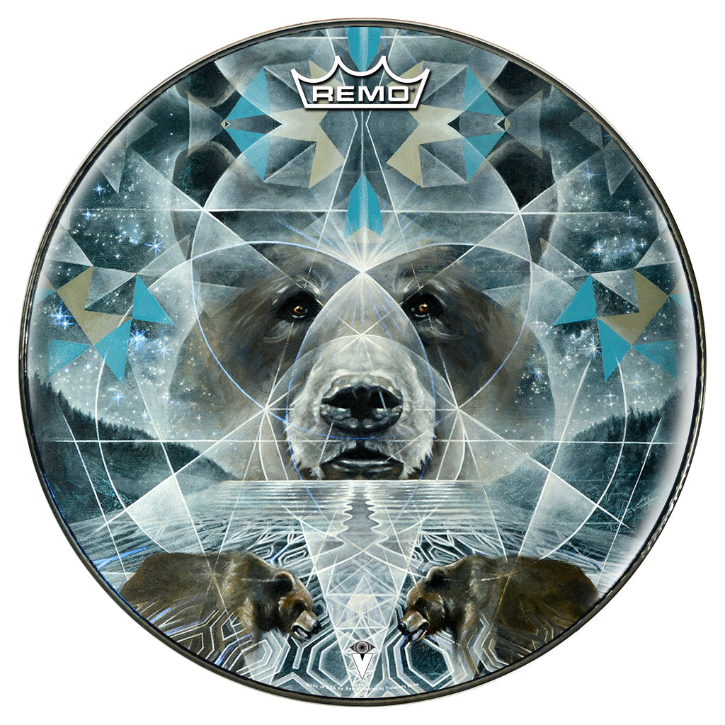 Bear design graphic drum head by Visionary Drum and made by Remo