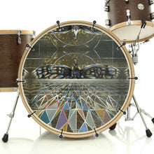 Geometric butterfly design graphic bass face on bass drum