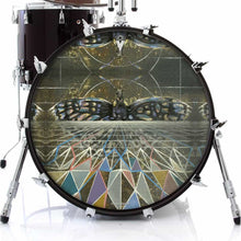 Geometric butterfly design graphic drum skin decal on bass