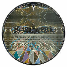 Geometric butterfly design graphic drum skin mounted to drumhead