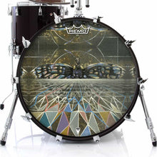 Geometric butterfly design graphic Remo drum head on bass