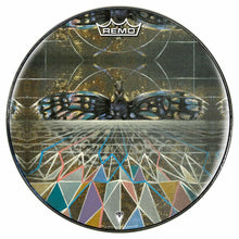 Geometric butterfly design graphic Remo drum head by Visionary Drum