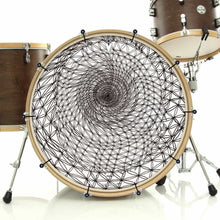 Flower of Life sacred geometry design bass face banner on drum.