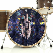 Hand mudra spiritual graphic bass face banner drum art