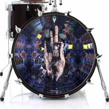 Hand mudra spiritual graphic drum skin decal on bass drum