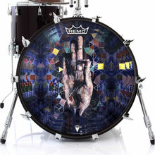 Hand mudra spiritual graphic drum head on bass