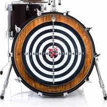 Darts design graphic drum skin on bass drum by Visionary Drum; target for darts drum art