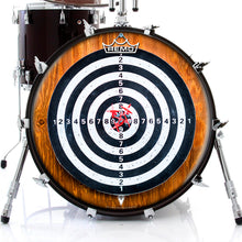 Darts Design Remo-Made Graphic Drum Head on Bass Drum by Visionary Drum; targets, wood grain drum art