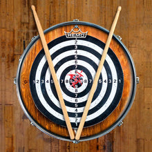 Darts Design Remo-Made Graphic Drum Head on Snare Drum by Visionary Drum; wood grain drum art