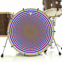 Depth Finder bass face drum banner on drum kit; rainbow circles drum art