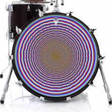 Depth Finder graphic drum skin on bass drum by Visionary Drum; rainbow circles drum art