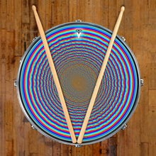 Depth Finder graphic drum skin on snare drum by Visionary Drum; geometric circles drum art