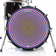 Depth Finder Design Remo-Made Graphic Drum Head on Bass Drum; colorful concentric circles drum art
