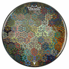 Depth Grid Design Remo-Made Graphic Drum Head by Visionary Drum; abstract flower pattern