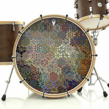 Depth Grid bass face drum banner on bass drum by Visionary Drum; asymmetrical, geometric drum art