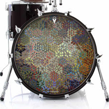 Depth Grid graphic drum skin on bass drum by Visionary Drum; asymmetrical, geometric drum art