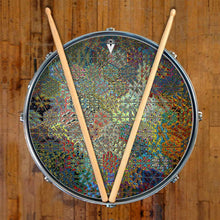 Depth Grid graphic drum skin on snare drum by Visionary Drum; geometric drum art