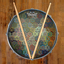 Depth Grid Design Remo-Made Graphic Drum Head on Snare Drum by Visionary Drum