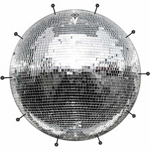 Disco Ball bass face drum banner by Visionary Drum; silver drum art