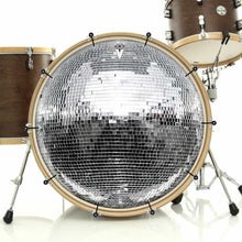 Disco Ball bass face drum banner on bass drum; silver drum art
