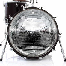 Disco Ball graphic drum skin on bass drum; vintage disco drum art