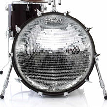 Disco Ball Design Remo-Made Graphic Drum Head on Bass Drum; disco party drum art