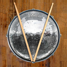 Disco Ball Design Remo-Made Graphic Drum Head on Snare Drum; retro disco drum art