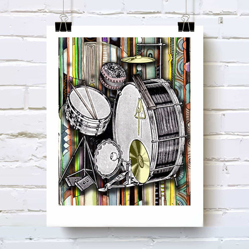 Drums, drum kit art print drummers and drum lovers