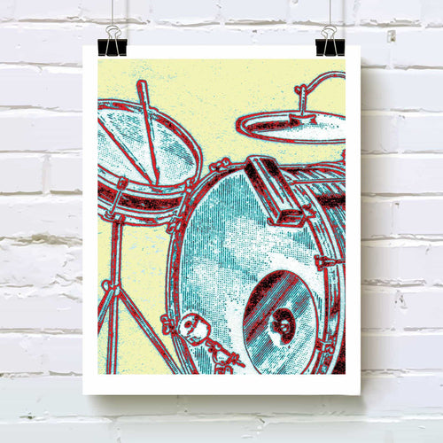 Antique drum set art print