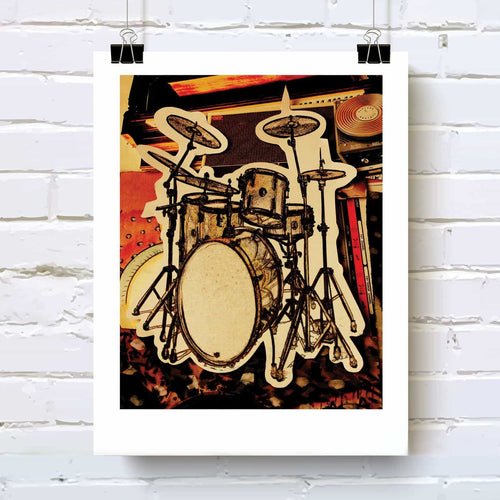 Drums art print drum kit design for drummers