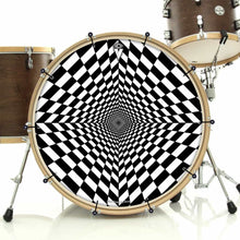 Duality Dive bass face drum banner attached to bass drum; black and white drum art