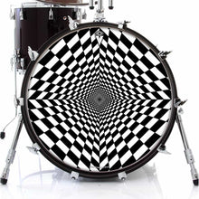 Duality Dive design graphic drum skin on bass drum by Visionary Drum; geometric drum art