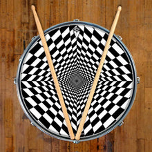 Duality Dive design graphic drum skin on snare drum by Visionary Drum; checkerboard drum art