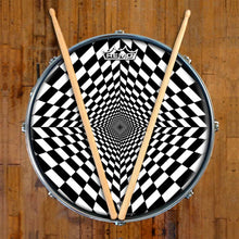 Duality Dive Design Remo-Made Graphic Drum Head on Snare Drum; psychedelic drum art