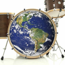 Earth bass face drum banner installed on bass drum; planet earth drum art