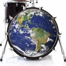 Earth design graphic drum skin on bass drum by Visionary Drum; nature drum art