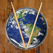 Earth design graphic drum skin on snare drum by Visionary Drum; planet earth drum art