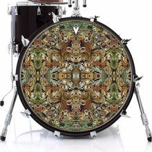 Earth Flow graphic drum skin on bass drum by Visionary Drum; green drum art