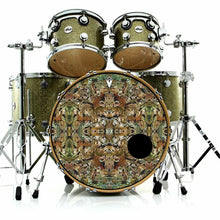 Earth Flow graphic drum skin installed on bass drum on green drum kit; earthy drum art