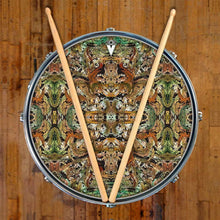 Earth Flow graphic drum skin on snare drum by Visionary Drum; earthy drum art