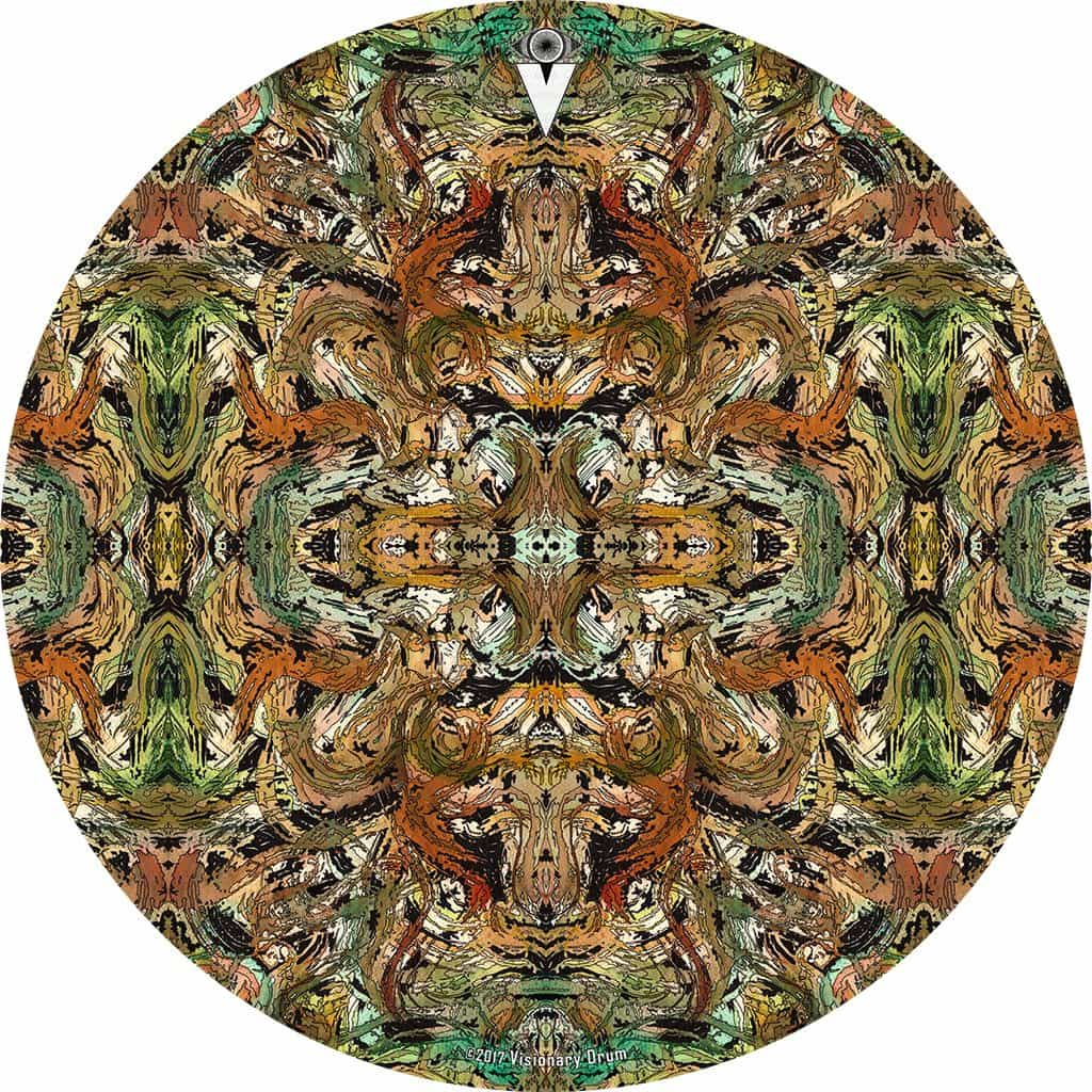 Earth Flow design graphic drum skin by Visionary Drum; earth tone nature pattern drum art