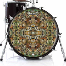 Earth Flow Design Remo-Made Graphic Drum Head on Bass Drum; mandala drum art