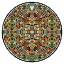 Earth Flow graphic drum skin installed on bass drum head by Visionary Drum; mandala drum art