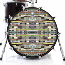 Egg Hunt graphic drum skin on bass drum by Visionary Drum; geometric pattern drum art