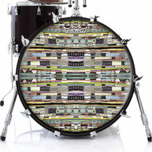 Egg Hunt Design Remo-Made Graphic Drum Head on Bass Drum; colorful watercolor pattern drum art