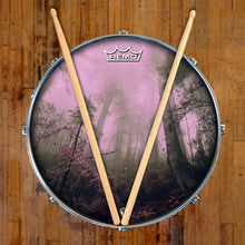 Enchanted Forest Remo made drum head by Visionary Drum on snare