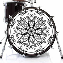 Ever Inward design graphic drum skin on bass drum by Visionary Drum; black and white drum art