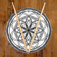 Ever Inward design graphic drum skin on snare drum by Visionary Drum; geometric drum art